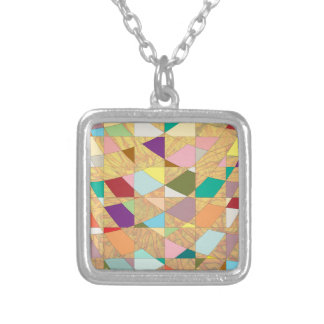 Abstract Colors Sun Burst Silver Plated Necklace