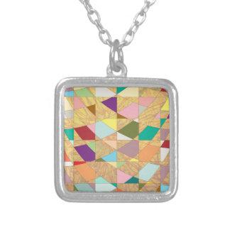 Abstract Colors Sun Burst Square Pendant Necklace