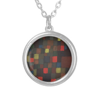 Abstract Colour Harmony in Squares with Vermillion Silver Plated Necklace