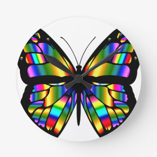 Abstract Coloured Butterfly Round Clock