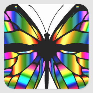 Abstract Coloured Butterfly Square Sticker