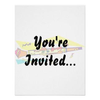 Abstract colourful clarinet graphic image design custom invites