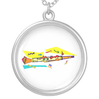 Abstract colourful clarinet graphic image design silver plated necklace