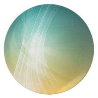Abstract Colours Yellow Green Striked Dinner Plate