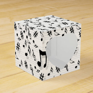 Abstract Composer Musical Notes Pattern Party Favor Box