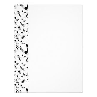 Abstract Composer Musical Notes Pattern Letterhead