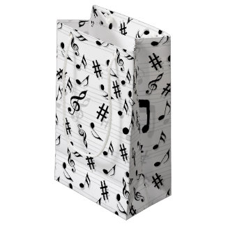 Abstract Composer Musical Notes Pattern Small Gift Bag