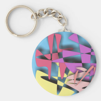 Abstract Composition Basic Round Button Keychain