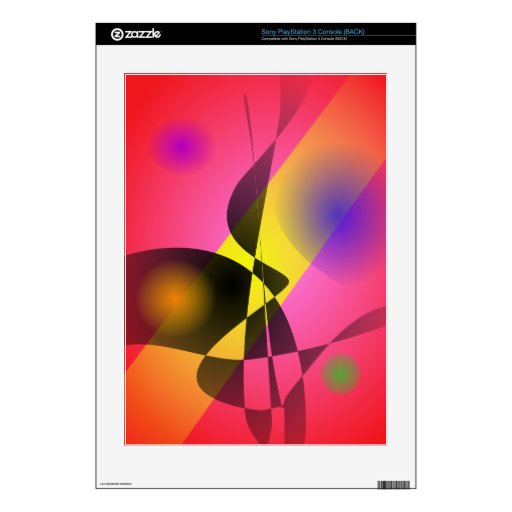 Abstract Composition Red Wind Skins For PS3 Console