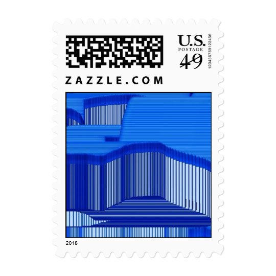 Abstract Computer Blue Stripe Art Postage