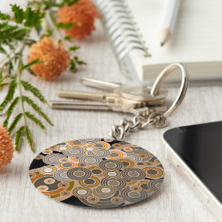 Abstract Concentric Circles Pattern Basic Round Button Keychain