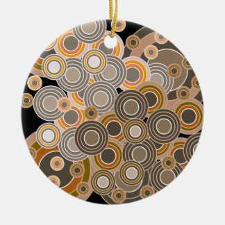 Abstract Concentric Circles Pattern Ceramic Ornament