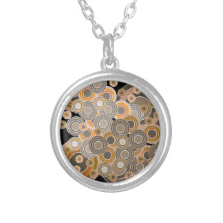 Abstract Concentric Circles Pattern Silver Plated Necklace