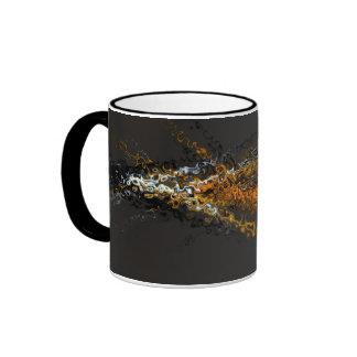 Abstract Contemporary Art Gold Brown Swirls Ringer Mug