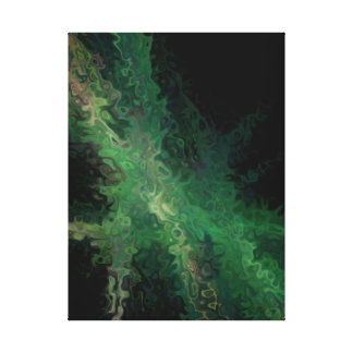 Abstract Contemporary Art Green Black Swirls Stretched Canvas Prints