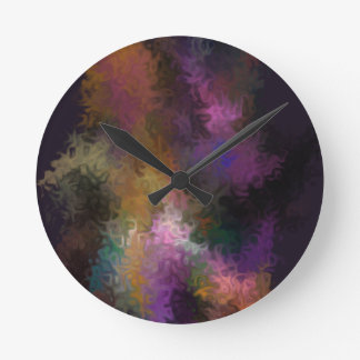 Abstract Contemporary Art Multi Colored Swirls Round Clock