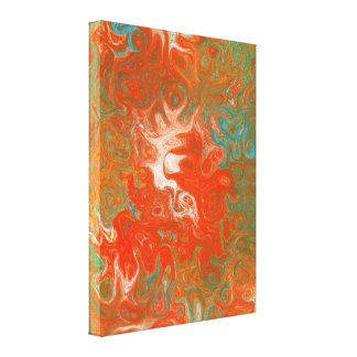 Abstract Contemporary Art Red Orange Teal Swirls Gallery Wrap Canvas