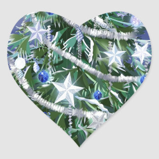 Abstract Cool Christmas Tree Times Heart Sticker