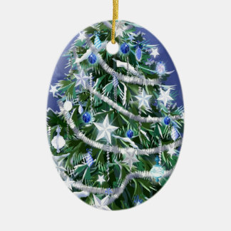 Abstract Cool Christmas Tree Times Double-Sided Oval Ceramic Christmas Ornament