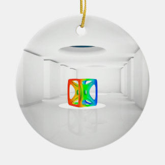 Abstract Cool Colour Cube Christmas Ornament