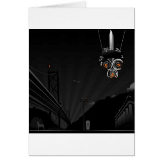 Abstract Cool Dark Painted Robot Card