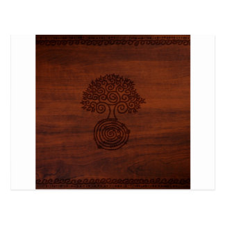 Abstract Cool Dark Wood Tree Carving Postcard
