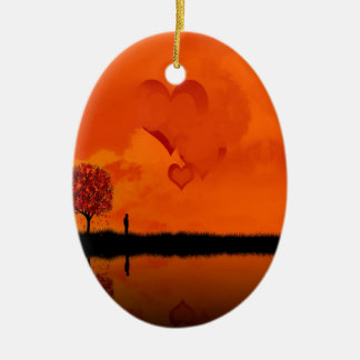 Abstract Cool Deep Red Hearts Double-Sided Oval Ceramic Christmas Ornament