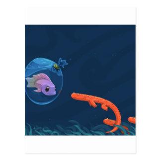 Abstract Cool Fish Bags Postcard