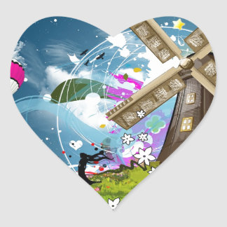 Abstract Cool Floating Windfarm Heart Sticker