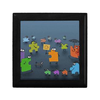 Abstract Cool Jigsaw Crowd Keepsake Box