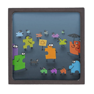 Abstract Cool Jigsaw Crowd Premium Jewelry Box