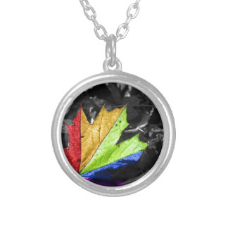 Abstract Cool Maple Leaf Colours Necklace
