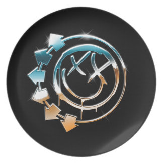 Abstract Cool Mercury Smiley Dinner Plate