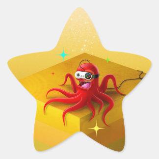 Abstract Cool Octopus Gamer Star Sticker