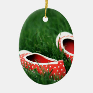 Abstract Cool Red Slip Shoes Ceramic Ornament
