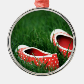 Abstract Cool Red Slip Shoes Metal Ornament