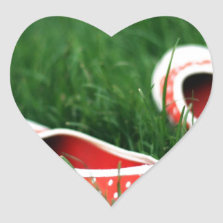 Abstract Cool Red Slip Shoes Heart Sticker