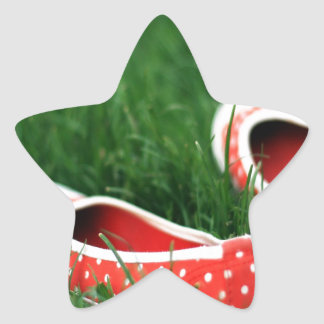 Abstract Cool Red Slip Shoes Star Sticker