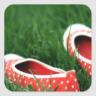 Abstract Cool Red Slip Shoes Square Sticker
