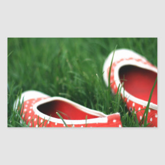 Abstract Cool Red Slip Shoes Rectangular Sticker