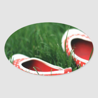Abstract Cool Red Slip Shoes Oval Sticker