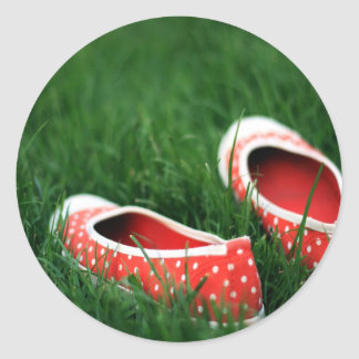 Abstract Cool Red Slip Shoes Classic Round Sticker