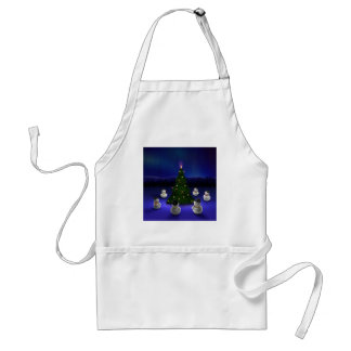 Abstract Cool Snowmen Gathering Aprons