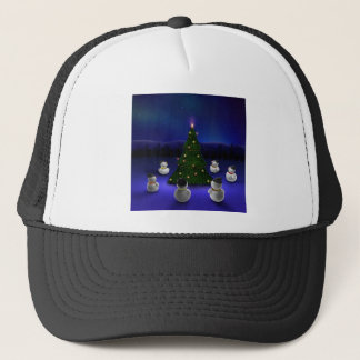 Abstract Cool Snowmen Gathering Trucker Hat