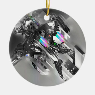 Abstract Cool Transformation Robotics Double-Sided Ceramic Round Christmas Ornament