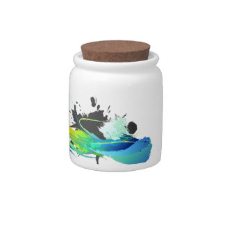 Abstract cool waters Paint Splatters Candy Jar