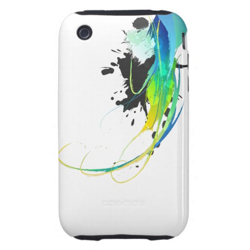 Abstract cool waters Paint Splatters iPhone 3 Tough Covers