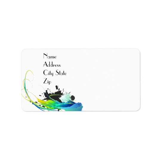 Abstract cool waters Paint Splatters Label