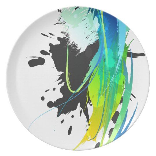 Abstract cool waters Paint Splatters Melamine Plate