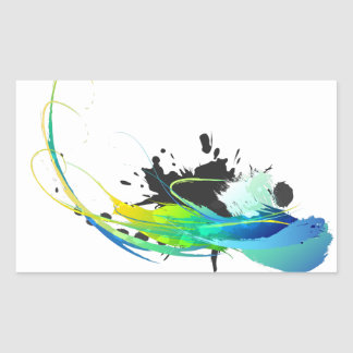 Abstract cool waters Paint Splatters Rectangular Sticker